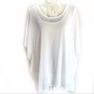 Antthony white mesh kimono sleeve stretch shirt 1X